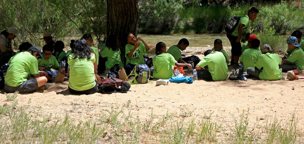 "Students and chaperones sit by the Virgin River to enjoy their lunch at Zion National Park during the ""1 Million African American Youth In A Park"", Saturday, June 10, 2017. One h ..."