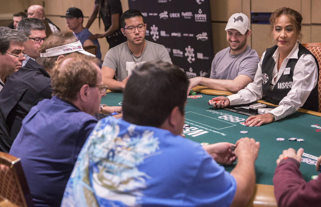 Joe Cada, second from right, plays a hand during the World Series of Poker on Saturday, June 10, 2017, at the Rio hotel-casino, in Las Vegas. Benjamin Hager Las Vegas Review-Journal @benjaminhphoto