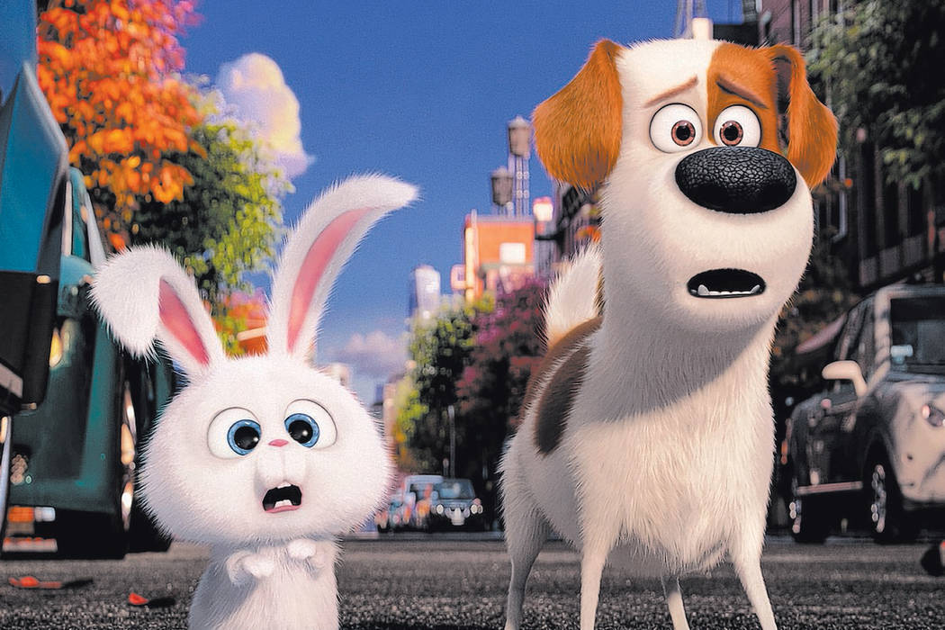 "Pampered terrier mix Max (Louis C.K.) and adorable and deranged bunny Snowball (Kevin Hart) in Illumination Entertainment and Universal Pictures' ""The Secret Life of Pets,"" a comedy about the live ..."