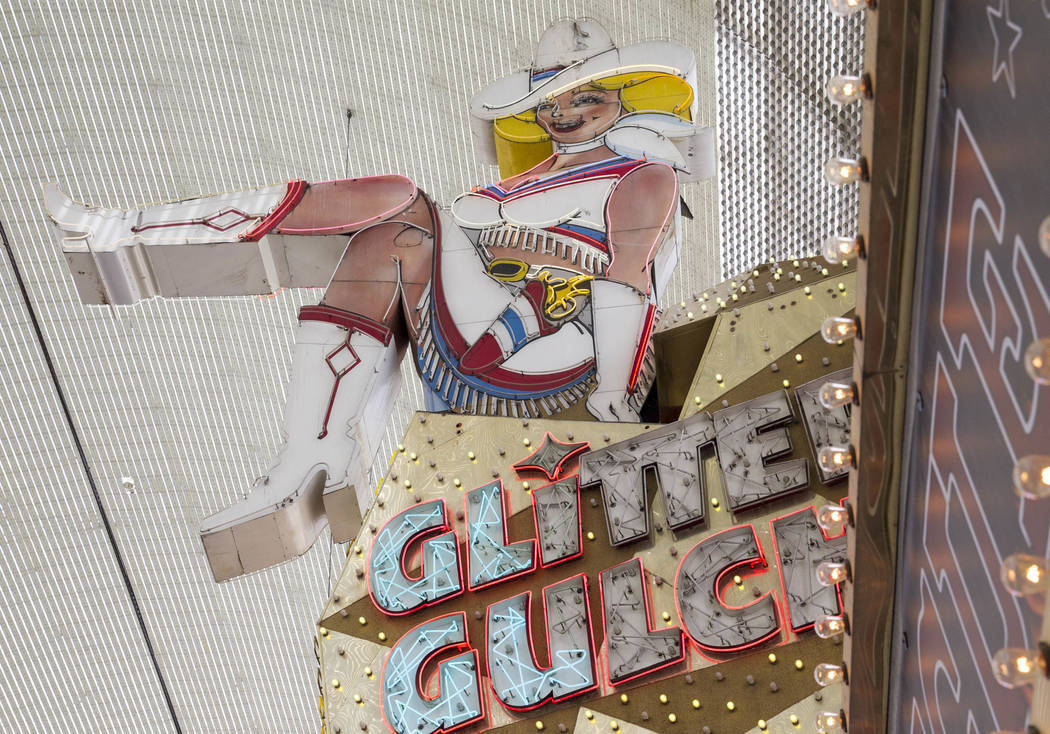 The Vegas Vickie neon sign atop the Glitter Gulch building at the Fremont Street Experience in downtown Las Vegas on Thursday, June 8, 2017. Richard Brian Las Vegas Review-Journal @vegasphotograph