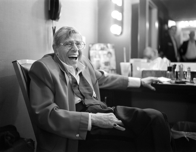 Jerry Lewis has a laugh in his dressing room after the final show of his run at the South Point, Sunday, Oct. 2, 2016 in Las Vegas. (Sam Morris/Las Vegas News Bureau)