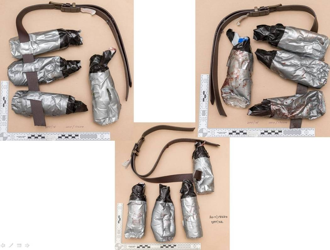 An undated handout photo made available Sunday, June 11, 2017, of fake suicide belts worn by one of the London Bridge attackers in the attacks of June 3, which killed several people and wounded do ...