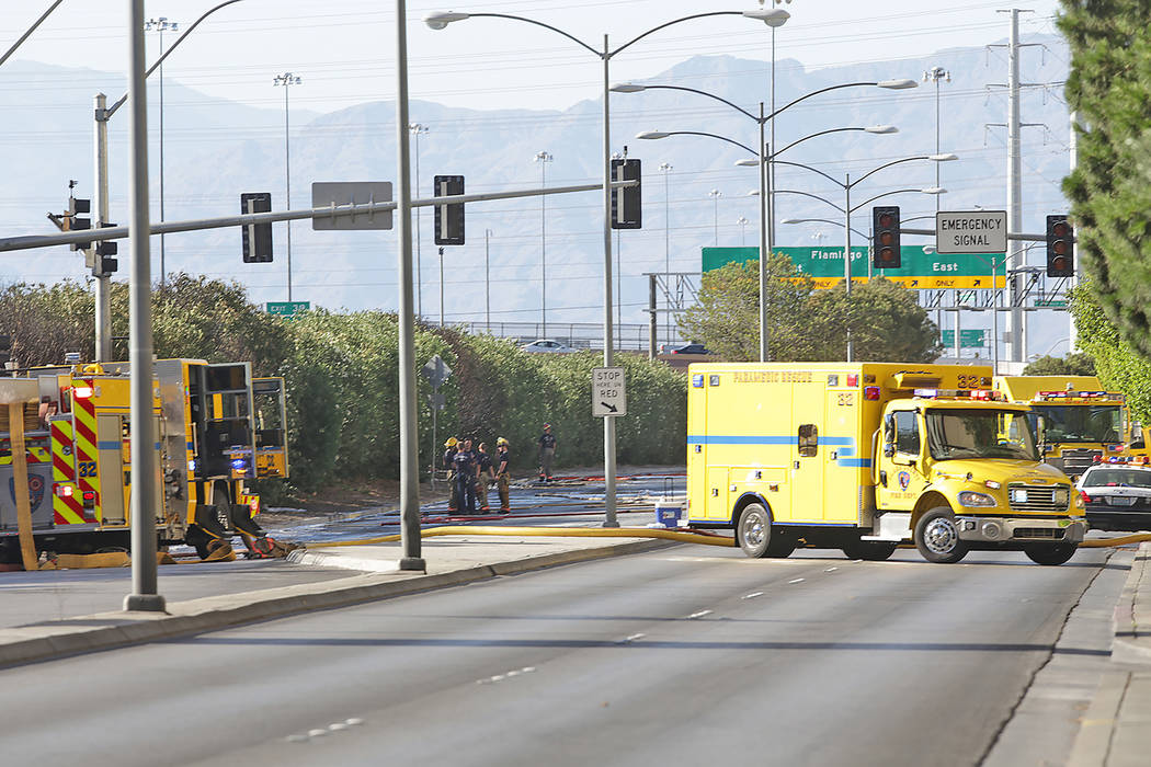 Fire crews are attended to a vegetation fire behind the Bellagio on Frank Sinatra Drive on Sunday, June 11, 2017, in Las Vegas. Rachel Aston Las Vegas Review-Journal @rookie__rae