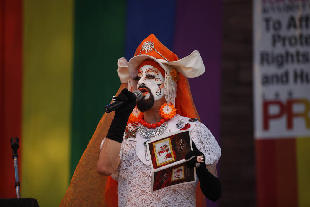 Gloria-Areola of the Sin City Sisters of Perpetual Indulgence speaks to the crowd at the Equality Rally for Unity and Pride on Sunday, June 11, 2017, at the Clark County Government Center in Las V ...
