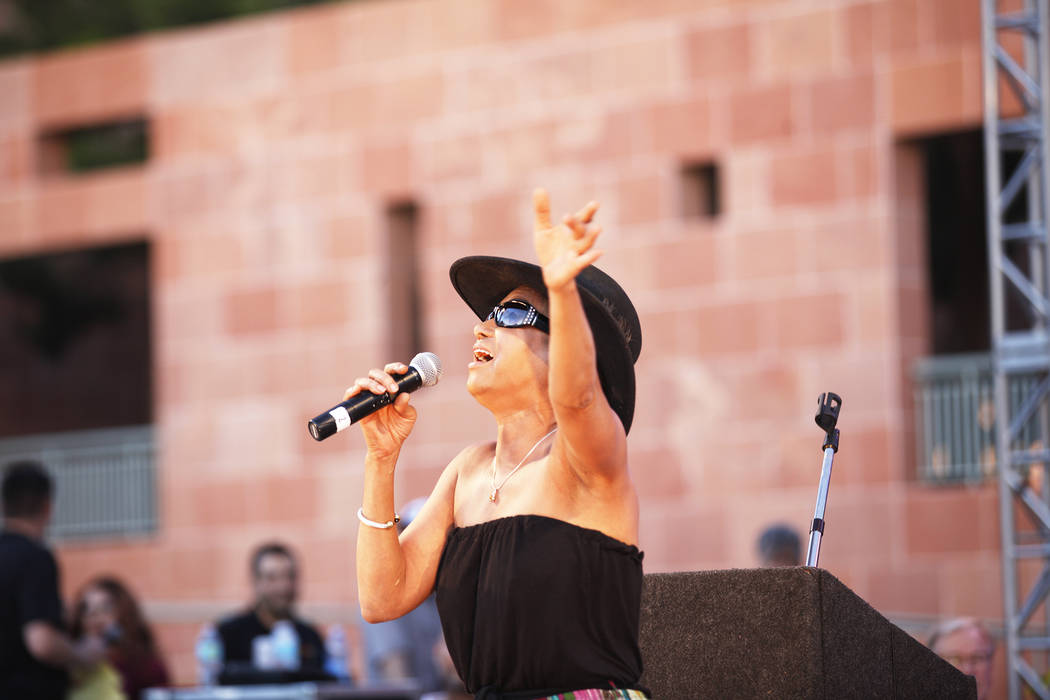 Actress and singer Reva Rice sings to the crowd at the Equality Rally for Unity and Pride on Sunday, June 11, 2017, at the Clark County Government Center in Las Vegas. Rachel Aston Las Vegas Revie ...