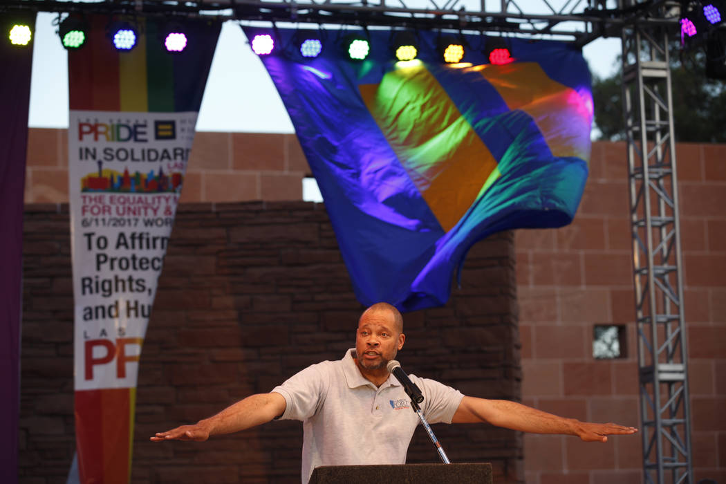 Sen. Aaron D. Ford, D-Nev., speaks to the crowd at the Equality Rally for Unity and Pride on Sunday, June 11, 2017, at the Clark County Government Center in Las Vegas. Rachel Aston Las Vegas Revie ...
