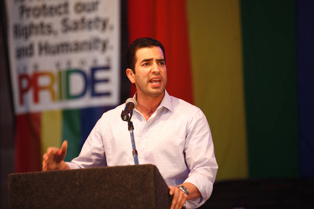 Rep. Ruben Kihuen, D-Nev., speaks to the crowd to the crowd at the Equality Rally for Unity and Pride on Sunday, June 11, 2017, at the Clark County Government Center in Las Vegas. Rachel Aston Las ...