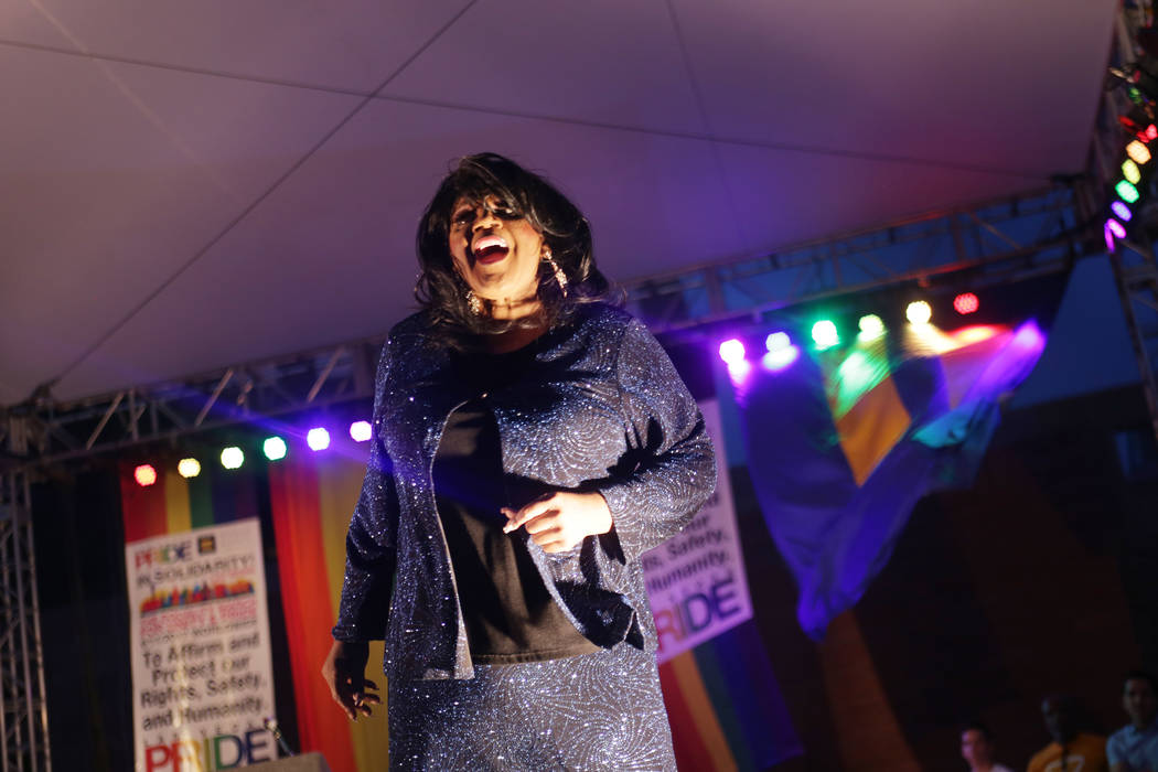 Michelle Holiday sings to the crowd at the Equality Rally for Unity and Pride on Sunday, June 11, 2017, at the Clark County Government Center in Las Vegas. Rachel Aston Las Vegas Review-Journal @r ...