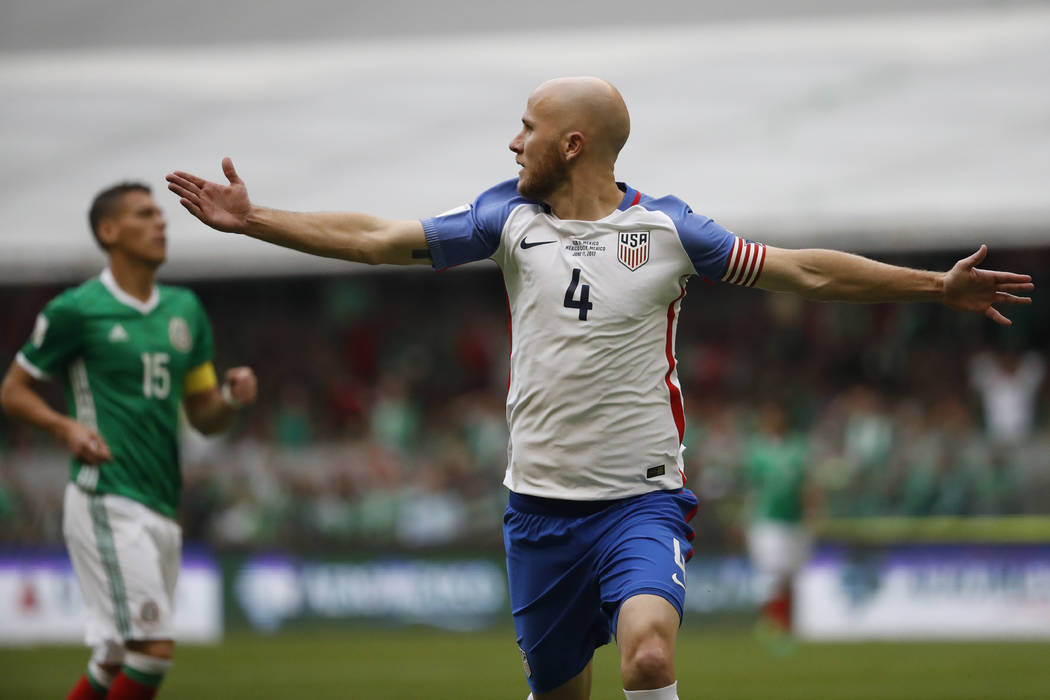 United States' Michael Bradley celebrates after scoring against Mexico during a World Cup soccer qualifying match at the Azteca Stadium in Mexico City, Sunday, June 11, 2017. (AP Photo/Eduardo Ver ...