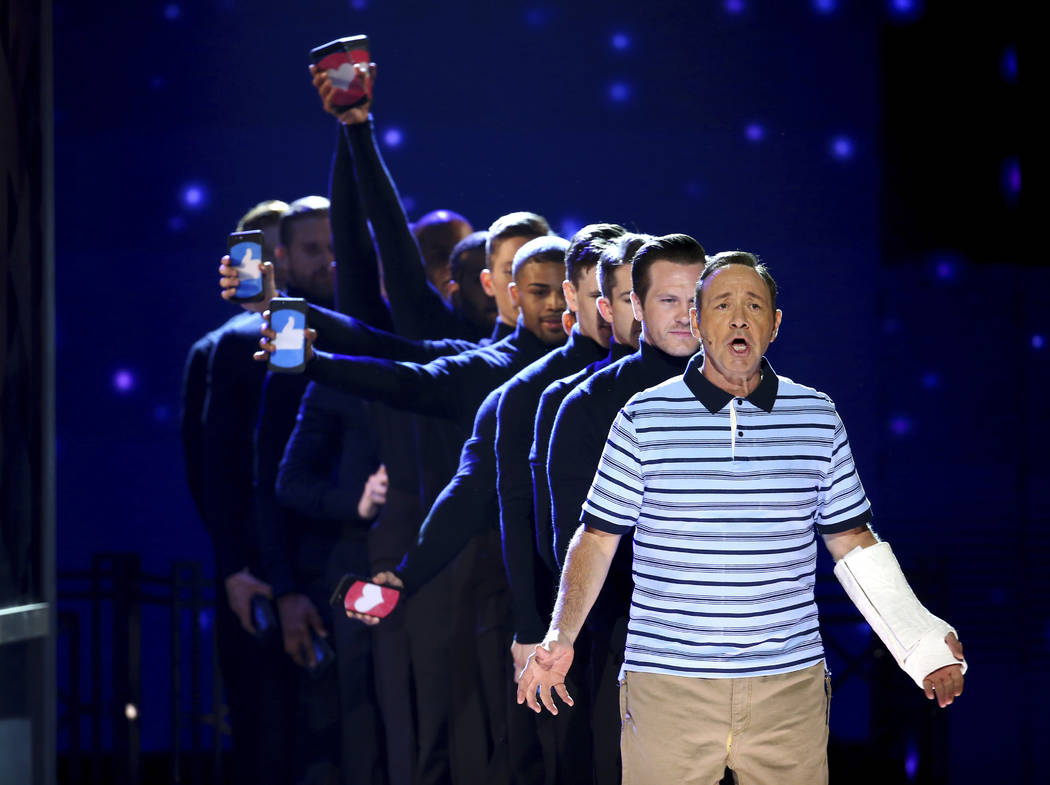 Kevin Spacey and the cast of Dear Evan Hansen perform at the 71st annual  Tony Awards a961860fc2ac