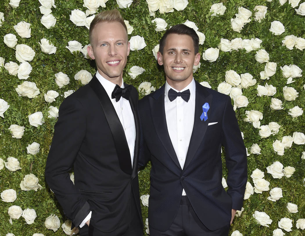 Justin Paul, left, and Benj Pasek arrive at the 71st annual Tony Awards at Radio City Music Hall on Sunday, June 11, 2017, in New York. (Photo by Evan Agostini/Invision/AP)