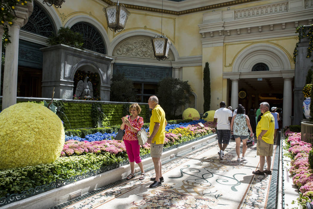 Guests visit the new Italian-inspired display at Bellagio's Conservatory & Botanical Gardens on Monday, June 12, 2017.  Patrick Connolly Las Vegas Review-Journal @PConnPie