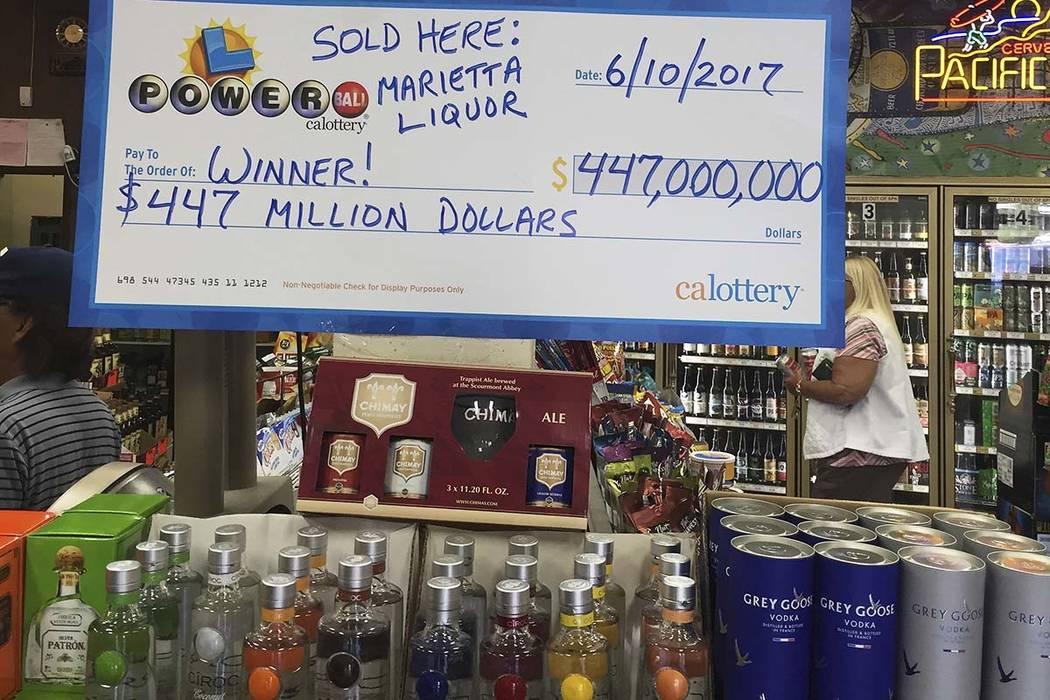 A sole winning Powerball ticket worth $447.8 million was sold at Marietta Liquors & Deli in Menifee, California. (Fadi Alberre via AP)