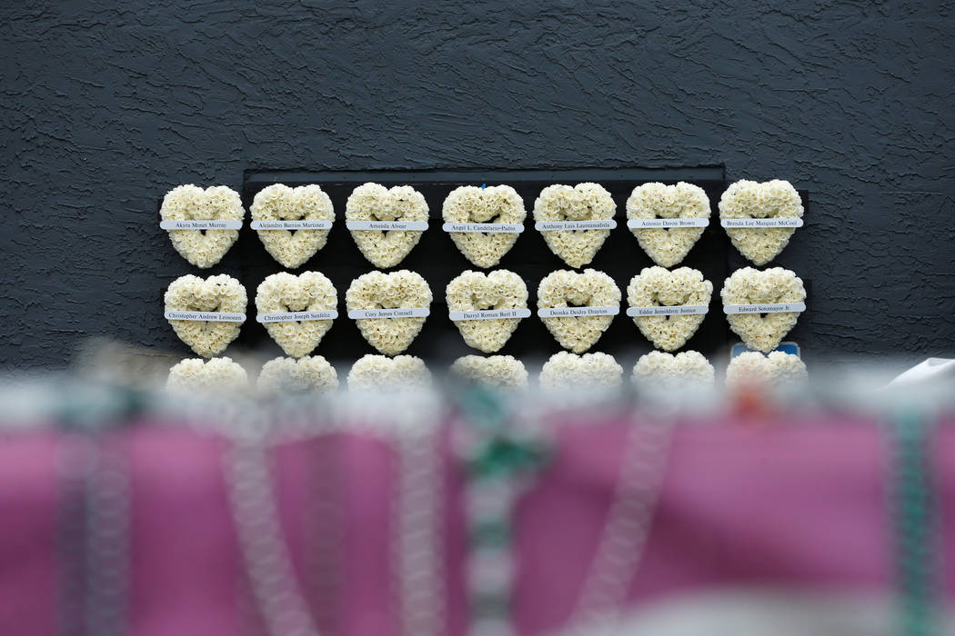 Memorial wreaths line the wall outside the Pulse Nightclub on the one-year anniversary of the shooting, in Orlando, Florida. (Scott Audette/Reuters)
