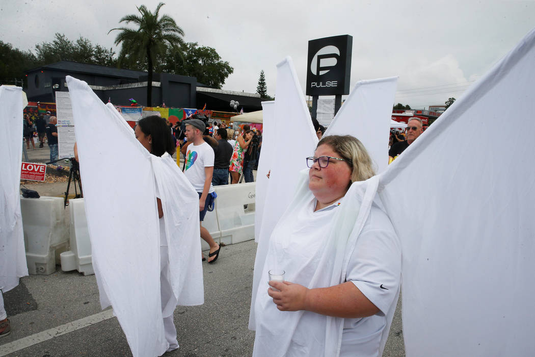 The Pulse Angels march to the memorial outside the Pulse Nightclub on the one-year anniversary of the shooting in Orlando, Florida, U.S., June 12, 2017. (Scott Audette/Reuters)