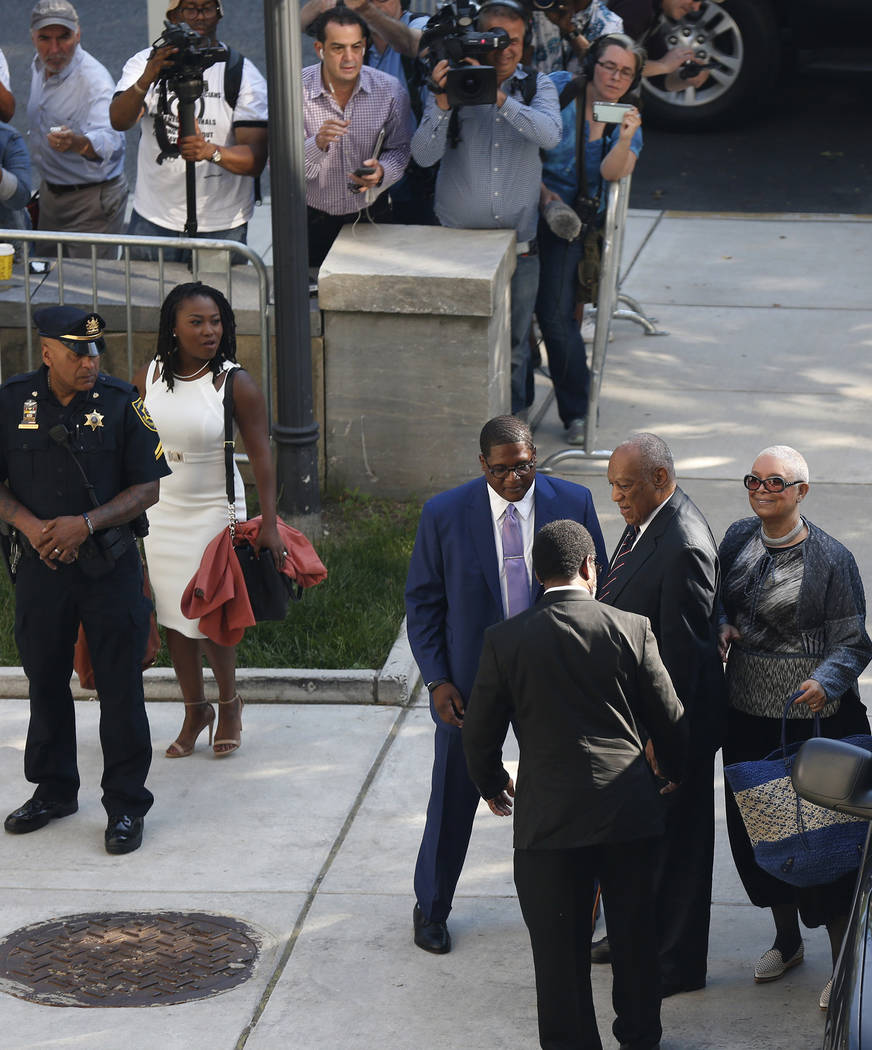 Bill Cosby arrives for his sexual assault trial with his wife, Camille Cosby, right, at the Montgomery County Courthouse in Norristown, Pa., on Monday, June 12, 2017. (David Maialetti/The Philadel ...
