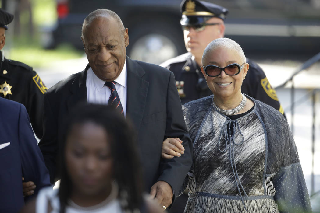 Bill Cosby arrives for his sexual assault trial with his wife. Camille Cosby, right, at the Montgomery County Courthouse in Norristown, Pa., Monday, June 12, 2017. (Matt Rourke/AP)