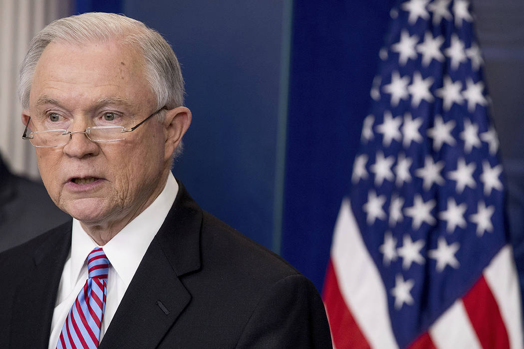 Attorney General Jeff Sessions on March 27, 2017. (Andrew Harnik/AP)
