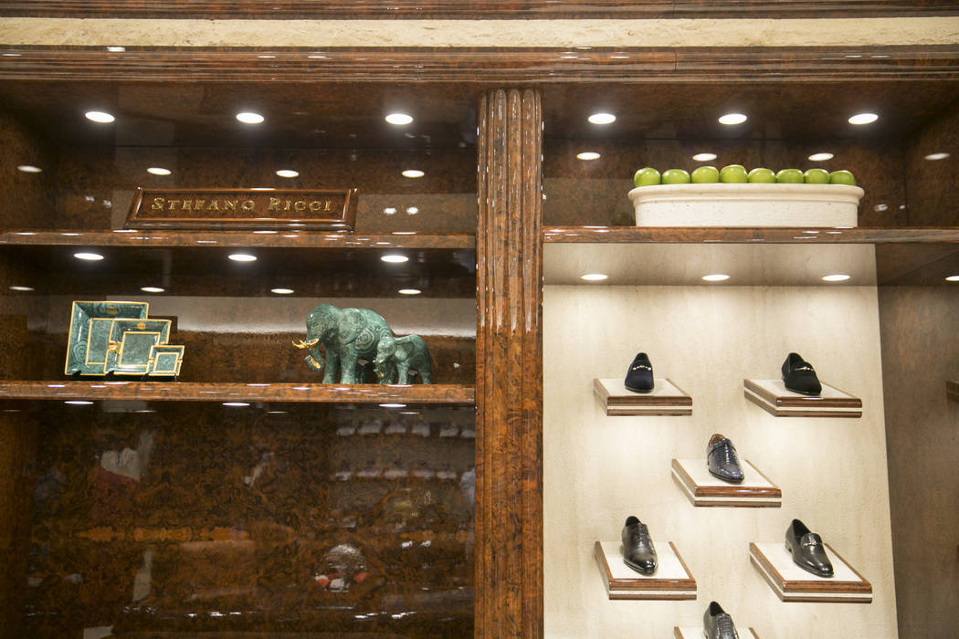 Shoes and sculptures at The Shops at Crystals on Monday, June 12, 2017 in Las Vegas, Nevada. Shoppers like musicians, business executives and foreign royals can shop away from the general public i ...