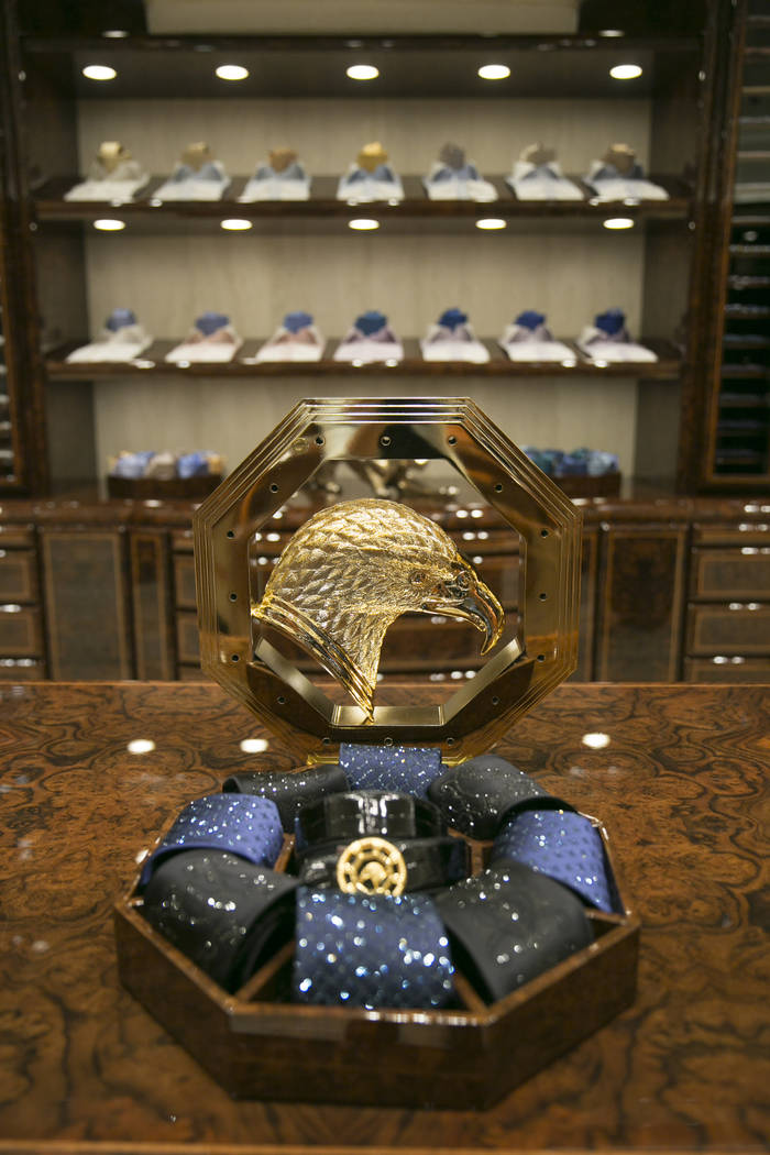 Swarovski crystal-encrusted neckties, center, in the Stefano Ricci VIP room  at The Shops at Crystals on Monday, June 12, 2017 in Las Vegas, Nevada. Shoppers like musicians, business executives an ...