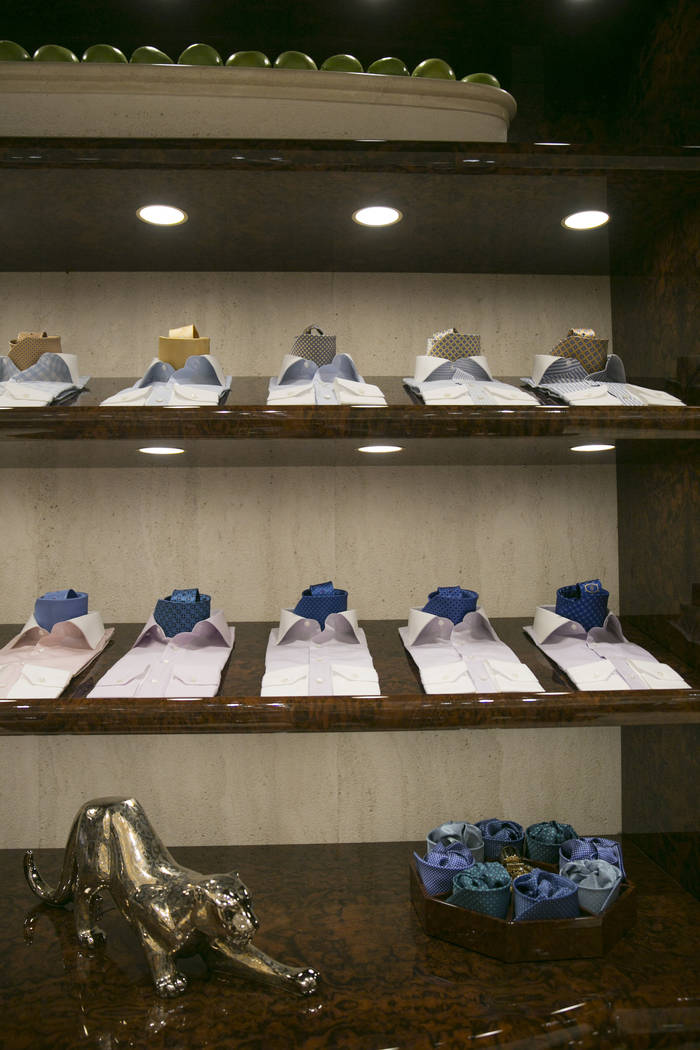 Dress shirts and neckties in the Stefano Ricci VIP room  at The Shops at Crystals on Monday, June 12, 2017 in Las Vegas, Nevada. Shoppers like musicians, business executives and foreign royals  ca ...