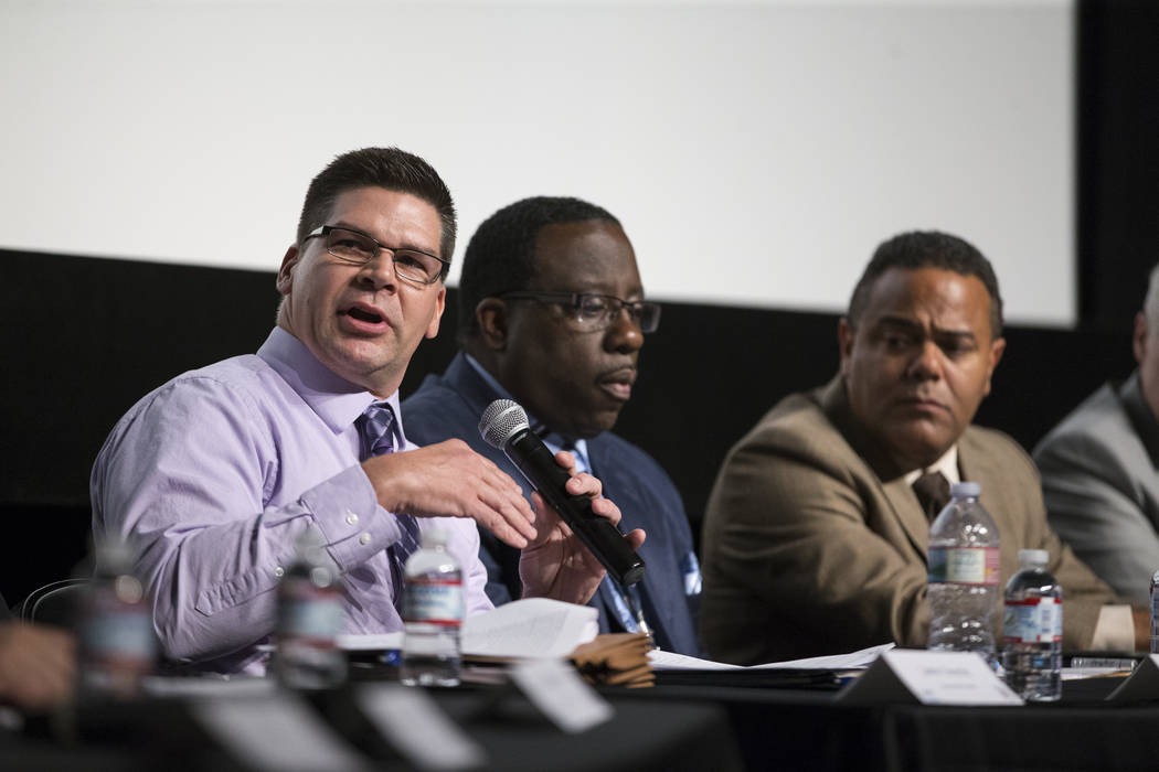 Las Vegas Metropolitan Police Department Lt. Dave Valenta, left, during a Clark County School District roundtable forum at Chaparral High School on Thursday, June 15, 2017 in Las Vegas. Erik Verdu ...