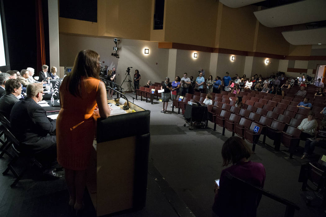People line up for pubic comment during a Clark County School District roundtable forum at Chaparral High School on Thursday, June 15, 2017 in Las Vegas. Erik Verduzco/Las Vegas Review-Journal