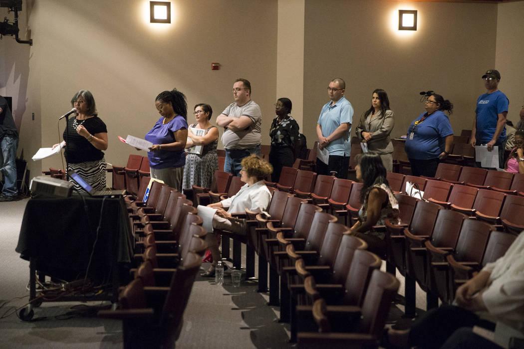 People line up for pubic comment during a Clark County School District roundtable forum at Chaparral High School on Thursday, June 15, 2017 in Las Vegas. Erik Verduzco/Las Vegas Review-Journal