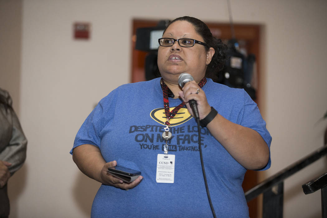 Karlana Kulseth speaks during public comment in a Clark County School Department roundtable forum at Chaparral High School on Thursday, June 15, 2017 in Las Vegas. Erik Verduzco/Las Vegas Review-J ...
