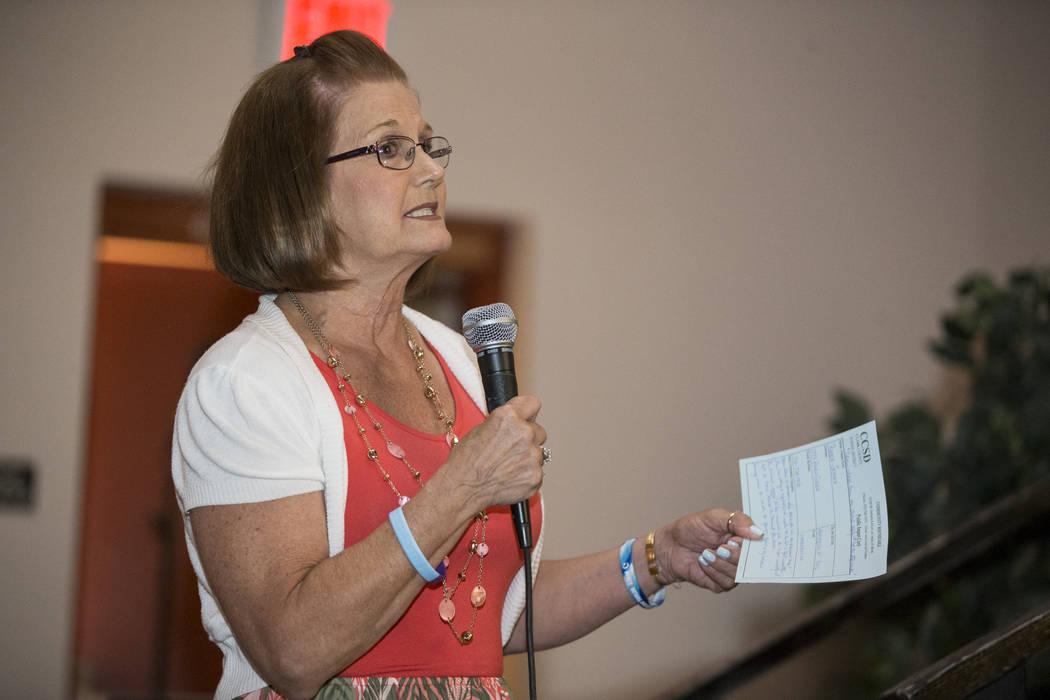 Rhoda Jensen speaks during public comment in a Clark County School Department roundtable forum at Chaparral High School on Thursday, June 15, 2017 in Las Vegas. Erik Verduzco/Las Vegas Review-Journal