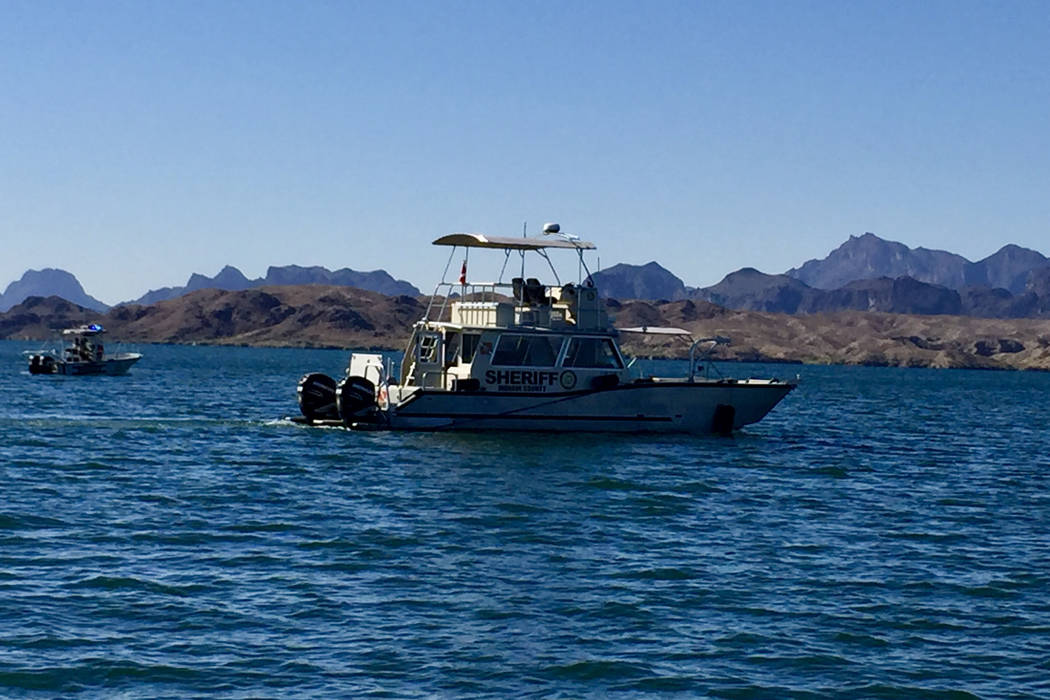 Mohave County Sheriff's Office Boating Safety vessels search for a missing female subject from an accident on Saturday, June 10, 2017. (Mohave County Sheriff's Office)