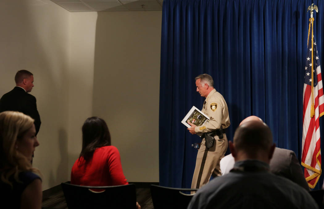 Clark County Sheriff Joe Lombardo leaves after announcing at the Las Vegas Police headquarters that officer Kenneth Lopera will be prosecuted for the in-custody death of Tashii Brown, Monday, June ...