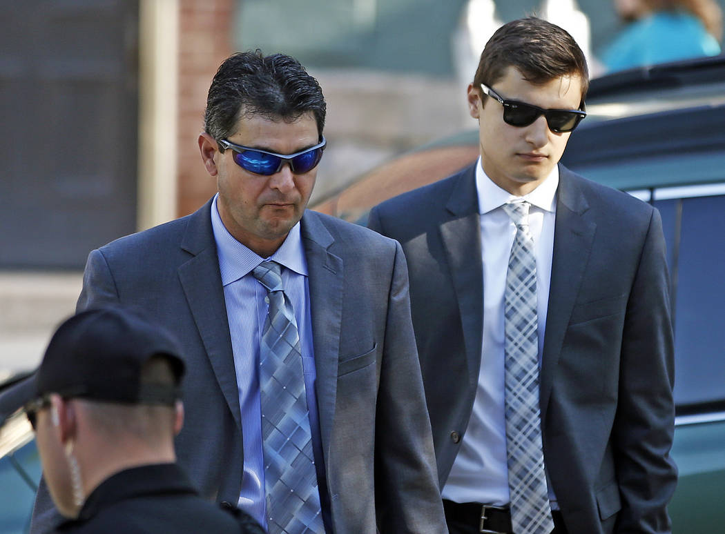 Joe Sala, right, arrives for his preliminary hearing on charges related to the hazing death of Timothy Piazza at Penn State's Beta Theta Pi fraternity at the Centre County Courthouse in Bellefonte ...