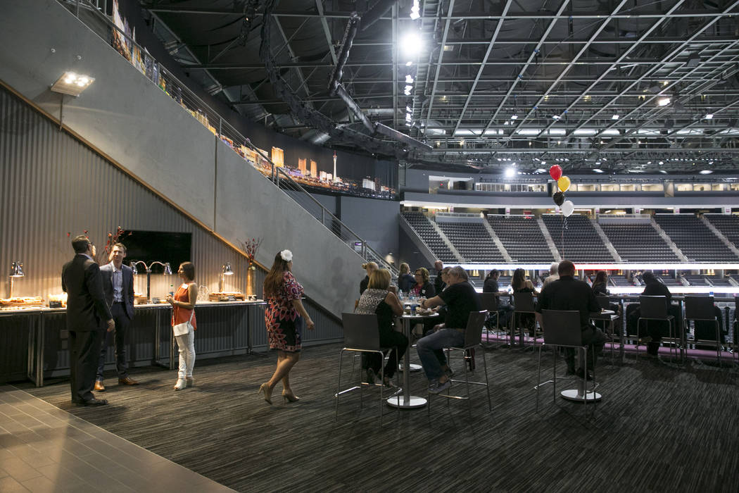 Customers check out the view at the party suite in the VIP section of the T-Mobile Arena in Las Vegas, Tuesday, June 13, 2017. Gabriella Angotti-Jones Gabriella Angotti-Jones Las Vegas Review-Jour ...