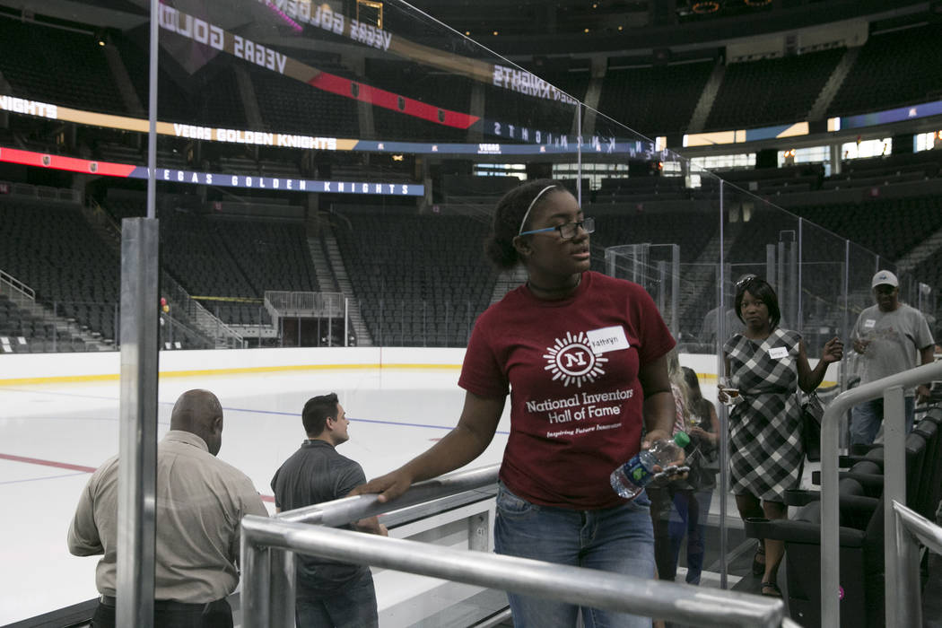 Kathryn Howzell (center), 16, and her mom Derryce Howzell (right) check out glass seats at the T-Mobile Arena in Las Vegas, Tuesday, June 13, 2017. Gabriella Angotti-Jones Gabriella Angotti-Jones  ...