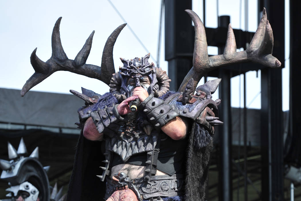 Michael Bishop aka Blothar of GWAR performs at Riot Fest & Carnival at Douglas Park on Friday, Sept. 16, 2016, in Chicago. (Photo by Rob Grabowski/Invision/AP)