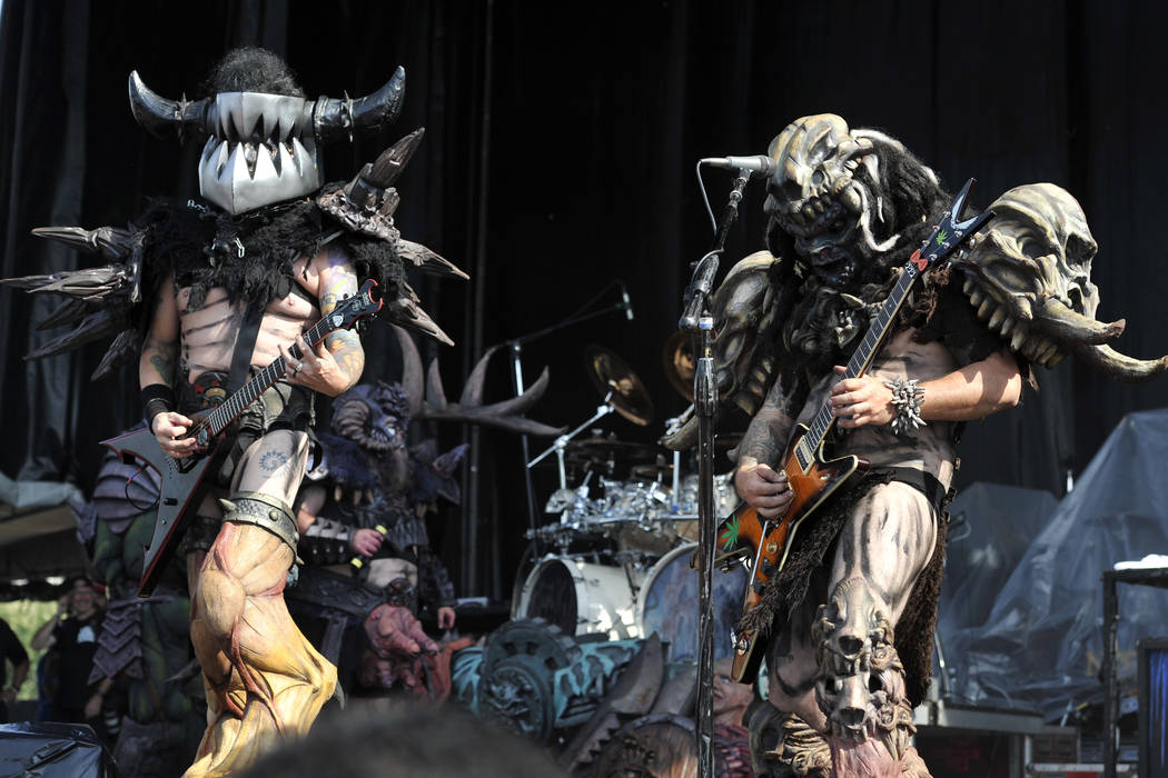 Mike Derks aka Balsac the Jaws of Death, left, and Brent Purgason aka Pustulus Maximus of GWAR performs at Riot Fest & Carnival at Douglas Park on Friday, Sept. 16, 2016, in Chicago. (Photo by ...