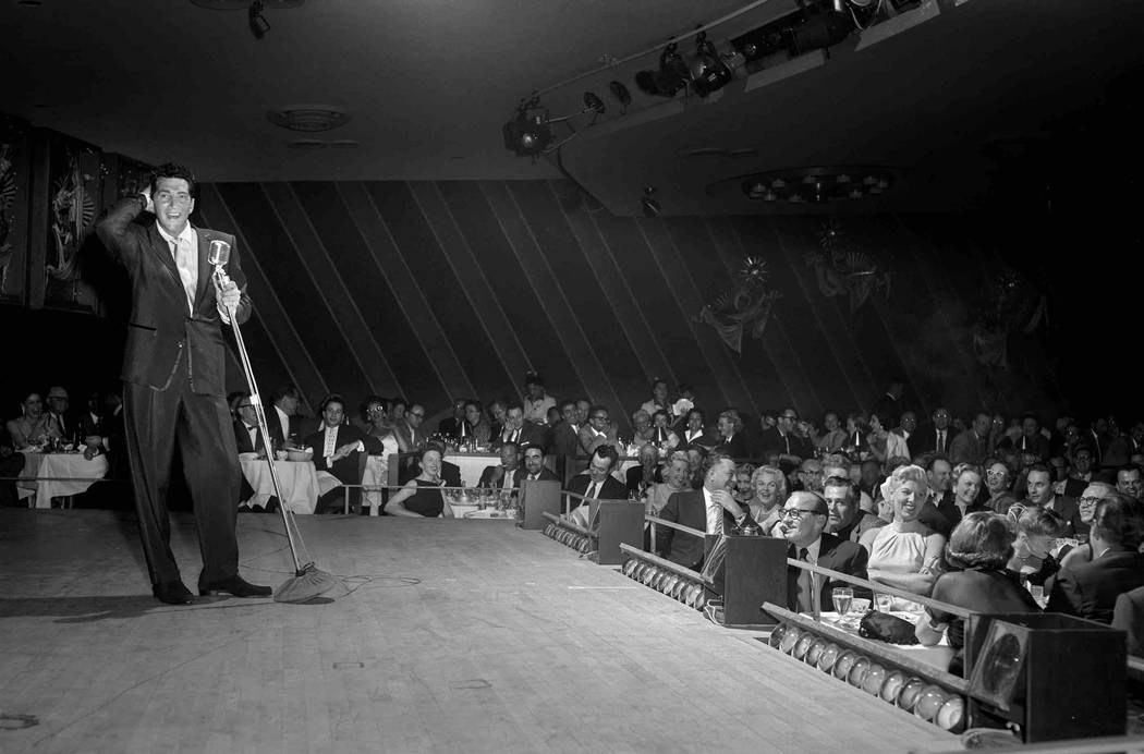 Dean Martin performs on the opening night of a run of shows at The Sands in Las Vegas Feb. 6, 1957. (Las Vegas News Bureau)