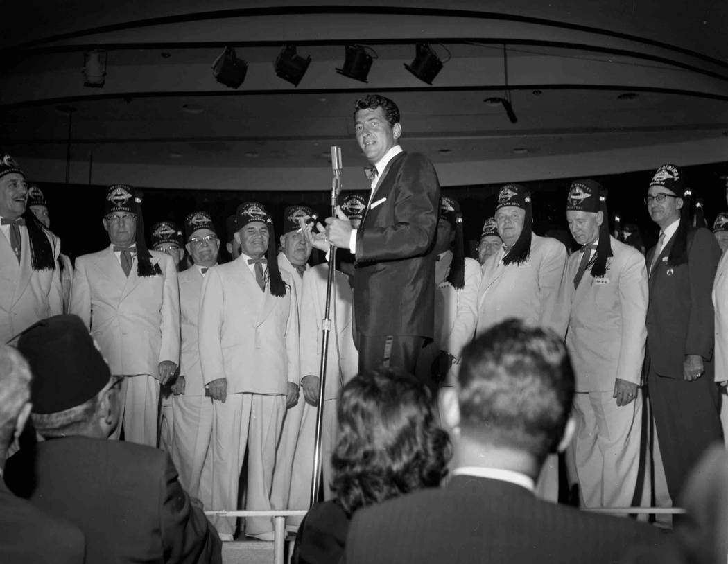 Dean Martin performs with the Shriners Glee Club April 14, 1961. (Milt Palmer/Las Vegas News Bureau)