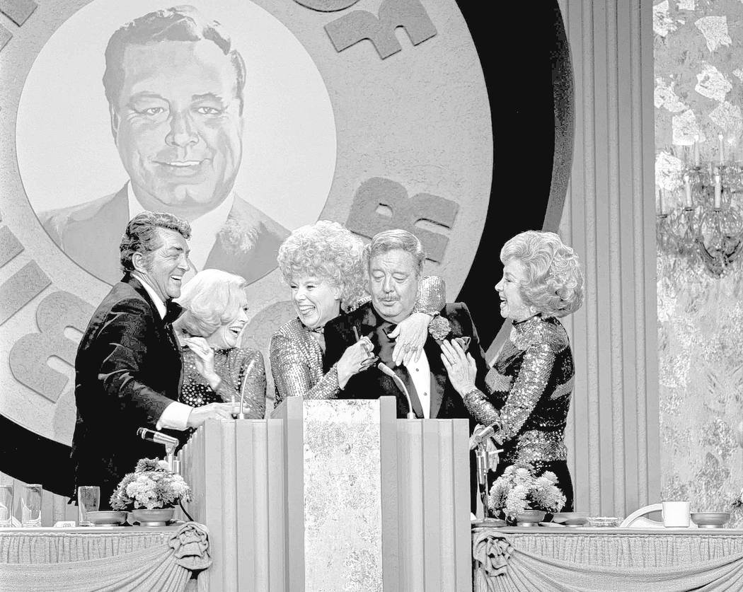 "Jackie Gleason is surrounded by Dean Martin and his ""The Honeymooners"" co-stars, from left, Jane Kean, Sheila MacRae and Audrey Meadows during the taping of ""The Dean Ma ..."