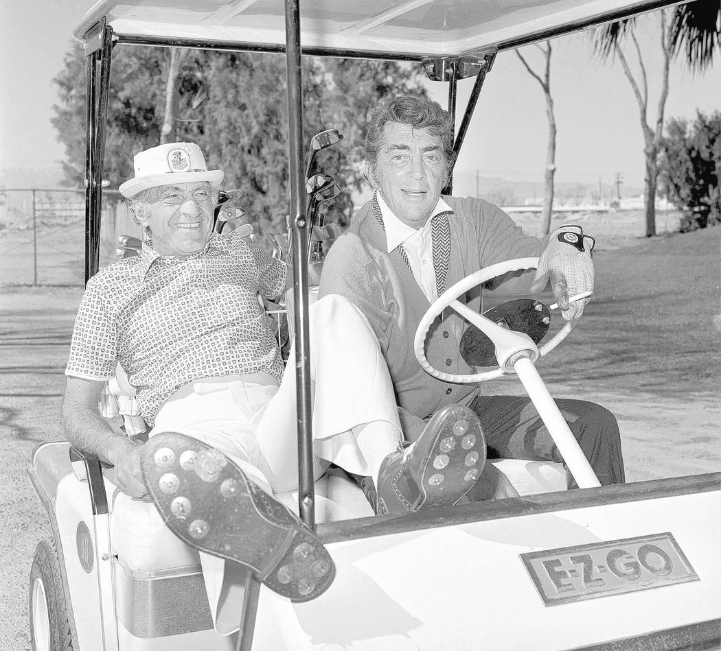 Dean Martin heads out to play golf with long-time Desert Inn casino host Mike Bonfiglio February 21, 1978, in Las Vegas. CREDIT: Tony King/Las Vegas News Bureau