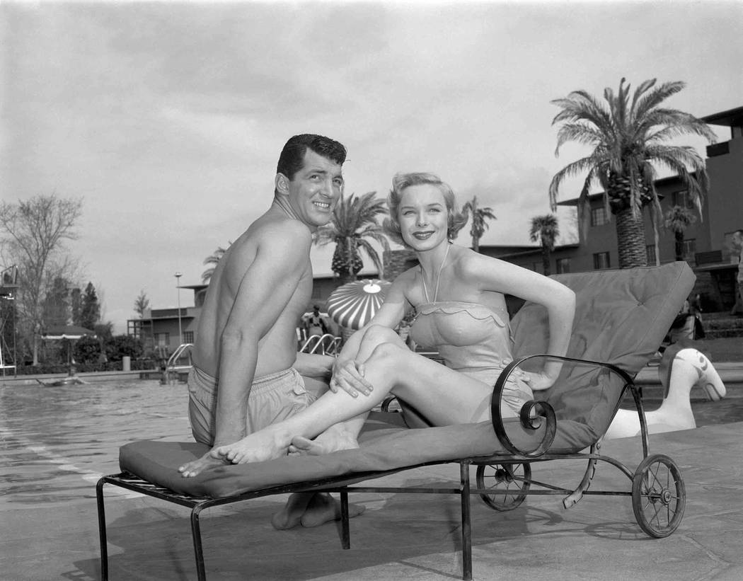 "Dean Martin poses with co-star Diana Lynn during filming of ""My Friend Irma Goes West"" at the Flamingo in Las Vegas circa early 1950. The film marked the second on-screen pairing of Dean Martin an ..."