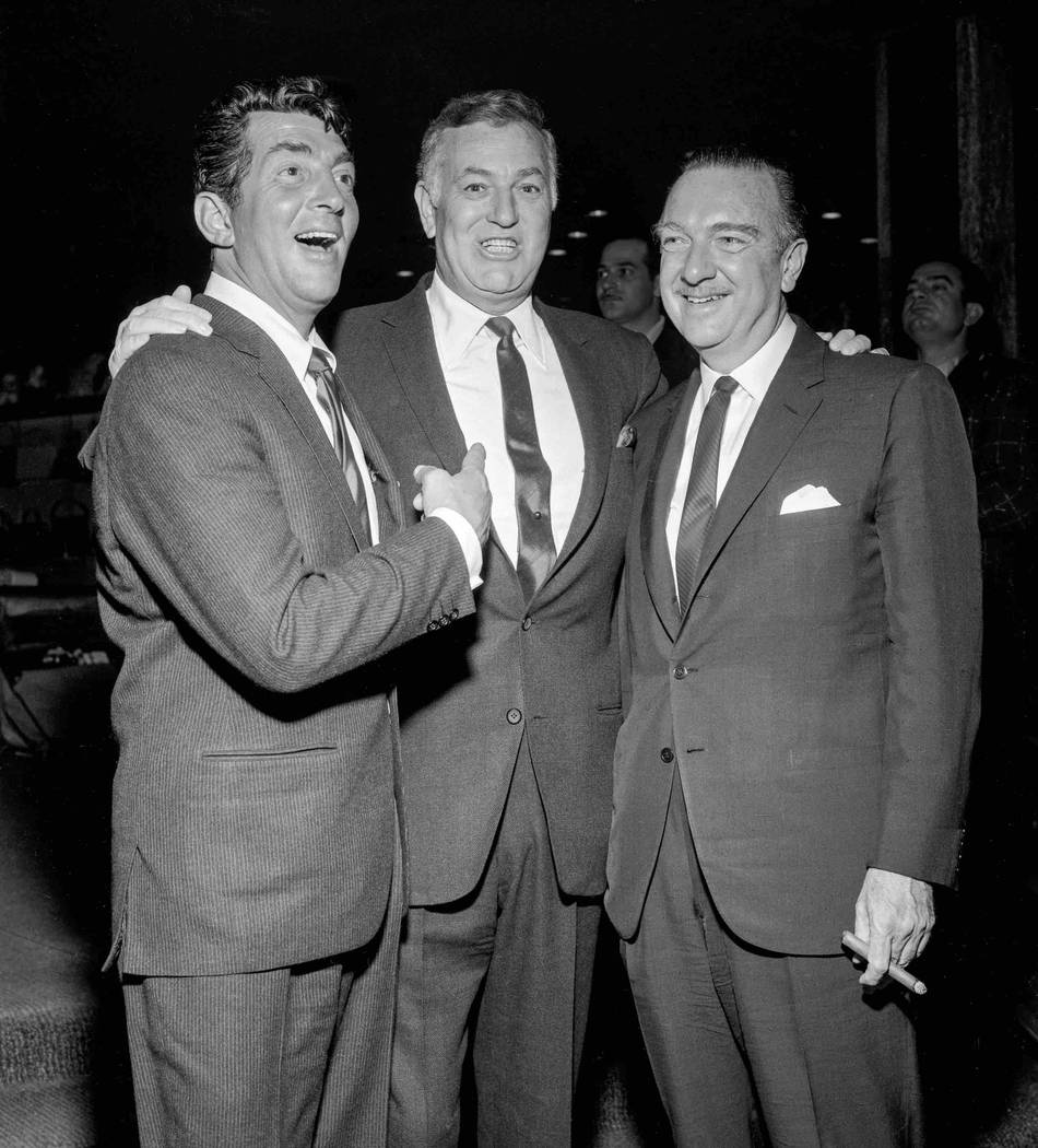 Dean Martin, Jack Entratter and Walter Cronkite are seen at the Sands circa late January 1963. (Jerry Abbott/Las Vegas News Bureau)