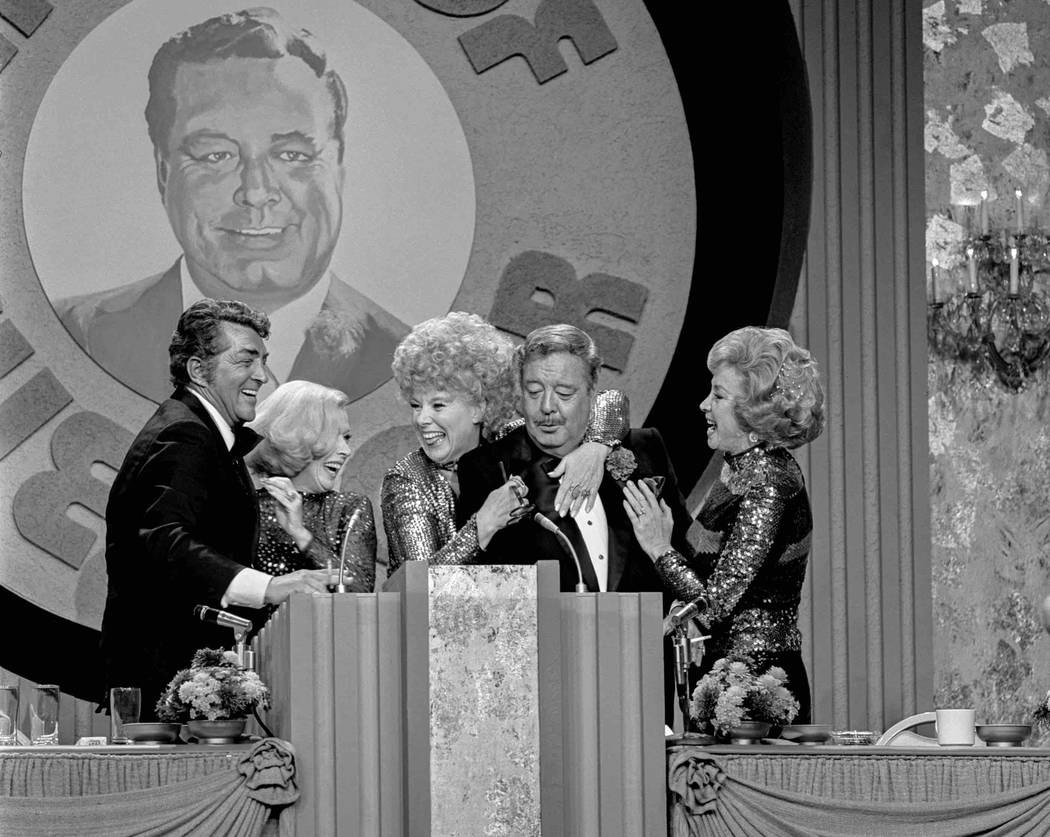 "Jackie Gleason is surrounded by Dean Martin and his ""The Honeymooners"" co-stars, from left, Jane Kean, Sheila MacRae and Audrey Meadows during the taping of ""The Dean Martin Celebrity Roast"" Dec.  ..."