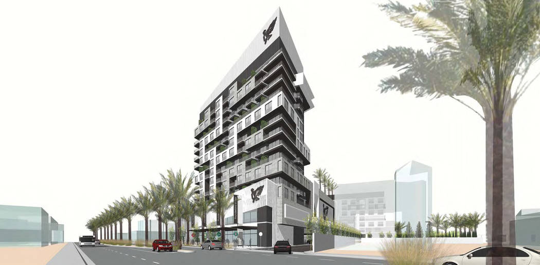 Motel owner Ilan Gorodezki has filed plans to build a 15-story residential tower on Las Vegas Boulevard between Sahara Avenue and Charleston Boulevard. (Rendering provided by Ilan Gorodezki)