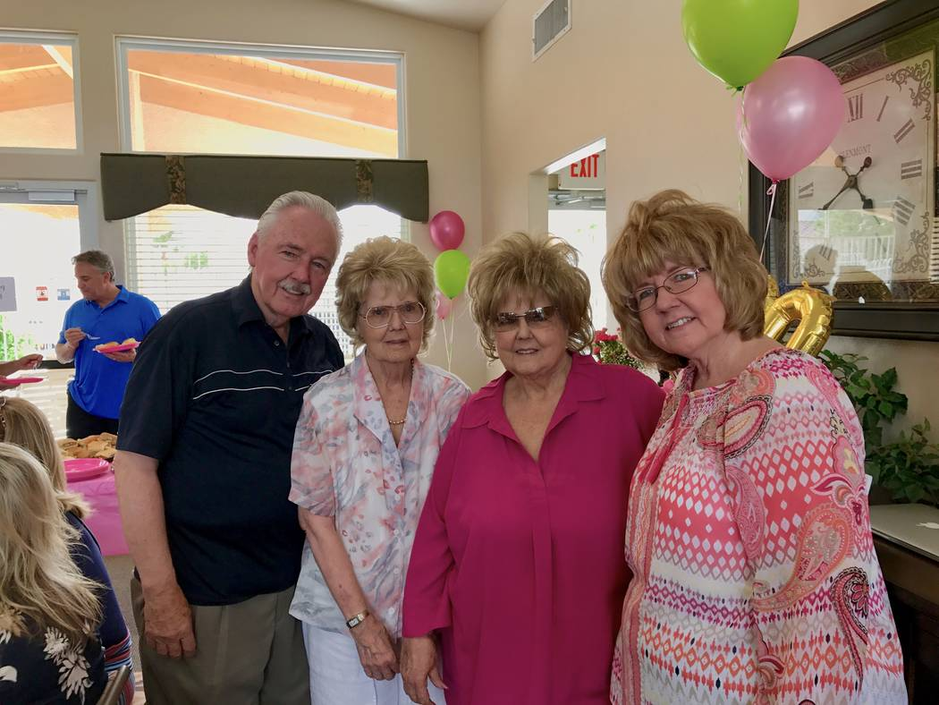 The Hardy siblings pose for a photo on June 10 at Galleria Villas in Henderson. From left to right: Thomas Hardy, Carolyn Holland, Madelyn Schneider and Mary Alice Greenhalgh. (Madelyn Reese/View) ...