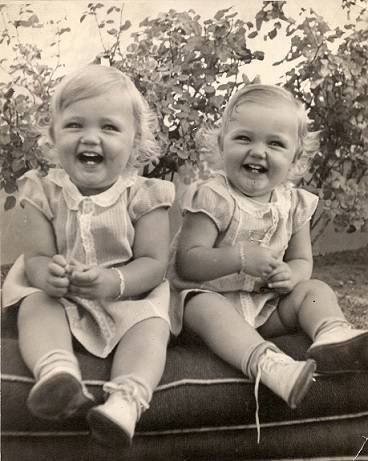 Madelyn and Carolyn Hardy as toddlers. Their mother dressed them alike for much of their childhood, making it difficult, if not impossible, for family members to tell them apart in pictures. (Subm ...