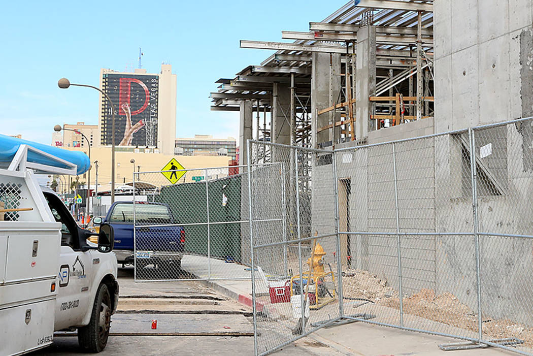 The under-construction Fremont 9 residential development site on 901 Fremont St. on Wednesday, Feb 8, 2017, in Las Vegas. ( Bizuayehu Tesfaye/Las Vegas Review-Journal) @bizutesfaye