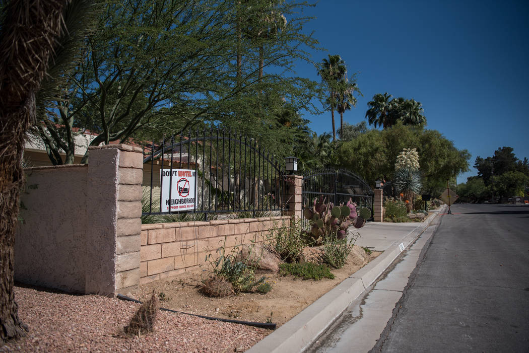 "Shadow Lane exhibiting their ""Don't Motel My Neighborhood"" signs on Wednesday, June 14, 2017, in Las Vegas. Las Vegas City Council will discuss short-term rentals, an issue that has become controv ..."