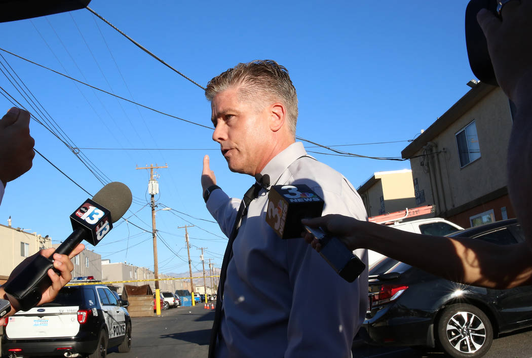Las Vegas police Lt. Dan McGrath talks about a double homicide at 4123 Silver Dollar Ave., on Tuesday, June 13, 2017, in Las Vegas. (Bizuayehu Tesfaye/Las Vegas Review-Journal) @bizutesfaye